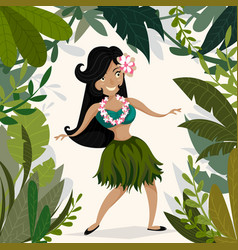 Hawaiian hula dancing girl in tropical jungle vector