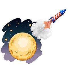 A rocket near the moon vector