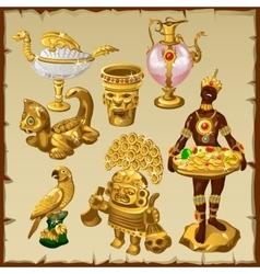 Ancient oriental and asian golden sculptures vector