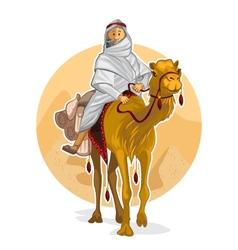 Arabian bedouin riding a camel islamic al hijra vector