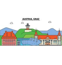 austria graz city skyline architecture vector image
