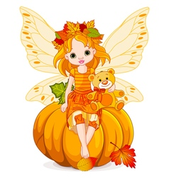 Autumn Little Fairy vector image