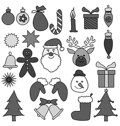 Christmas drawing ornament gray set vector