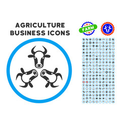 Cow trinity rounded icon with set vector