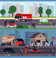 Downtown and ghetto character composition set vector