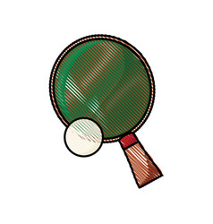 Drawing racket and ball ping pong play vector