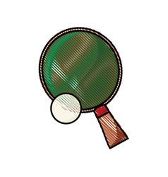 drawing racket and ball ping pong play vector image vector image