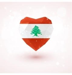 Flag of lebanon in shape diamond glass heart vector