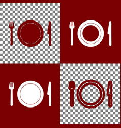 Fork plate and knife bordo and white vector