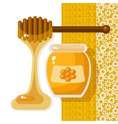 Glass jar full of honey and wooden stick vector