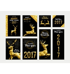 Gold deer greeting card template set for christmas vector image vector image