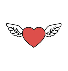 Heart wings love romantic design vector