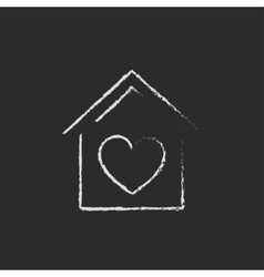 House with heart symbol icon drawn in chalk vector image vector image