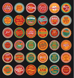 mexican design retro vintage labels set vector image