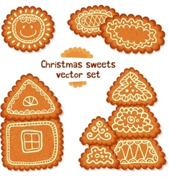 Ornate christmas sweets set vector