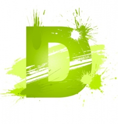 paint splashes font letter d vector image
