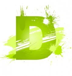 paint splashes font letter d vector image vector image