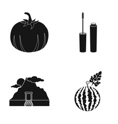Pumpkin mascara and other web icon in black style vector