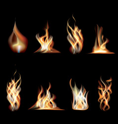 Realistic burning fire flames set vector