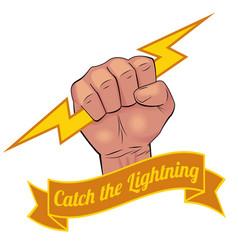 Realistic hand holding lightning bolt vector