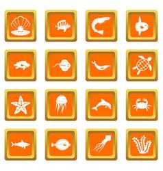 sea animals icons set orange vector image