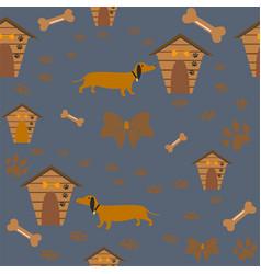 seamless dog pattern on purple vector image vector image