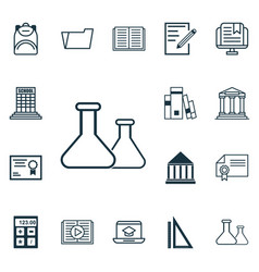 set of 16 school icons includes academy vector image