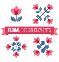 Set of design elements - retro flowers vector