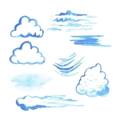 Set of watercolor clouds vector