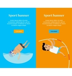 Swimming and pole vault sports banners vector