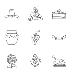 Thanksgiving day icons set outline style vector