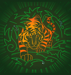 tiger icon in nature vector image
