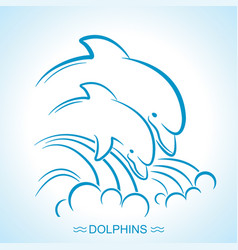two dolphins of parent and baby vector image