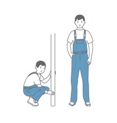 Two figures of male workers in overalls locksmith vector