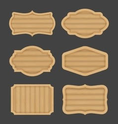 Wooden board label banner design realistic wood vector