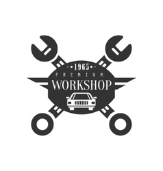 Repair workshop black and white label design vector