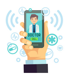 Mobile doctor personalized medicine consultant on vector