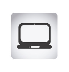 Gray emblem laptop icon vector