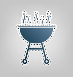 Barbecue simple sign  blue icon with vector