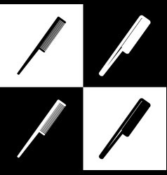 Comb sign  black and white icons and line vector