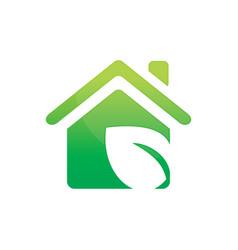 Leaf house ecology logo vector