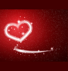 White heart star snow on red background valentine vector