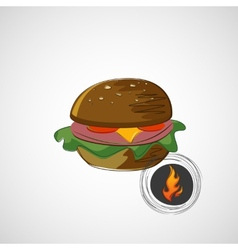 Sketch juicy and tasty burger icon vector