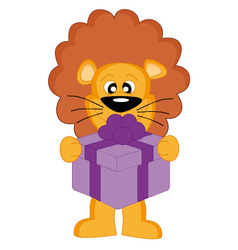 Lion with a gift vector