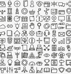 Set of linear media service icons 100 icons vector image