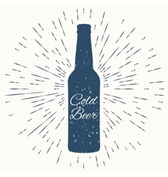 Cold beer hipster vintage label vector
