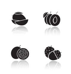 Sliced fruits drop shadow icons set vector