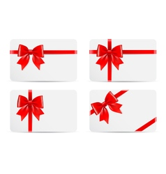 Set of gift cards with bow vector