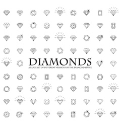 Diamonds a large set of different versions vector