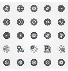 Car wheel icons set vector